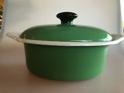 Vintage Made In Italy Enamel Cookware Small Dutch Oven Cathrineholm Era Green
