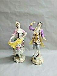 Pair Of 2 Antique French Marx Eugene Clauss Porcelain Figurines 13'' T