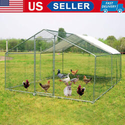 10 20ft Large Chicken Coop Heavy Duty Poultry Cage Duck House Habitat with Cover