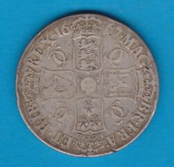 1667 Charles Ii Silver Crown In A Good Fine Condition