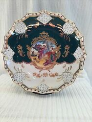 Antique Limoge Hand Painted Gilded Green And White Decor Plate Scallopped Edges