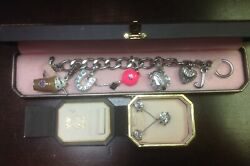 Juicy Couture Silver Tone Bracelet W/ 5 Charms And Silver Tone Necklace/earing Set