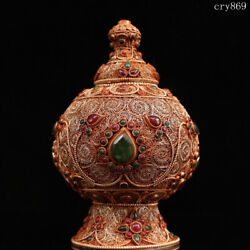 6.8collection Old Antique Tibet Handmade Inlaid With Gems Copper And Silver Jar