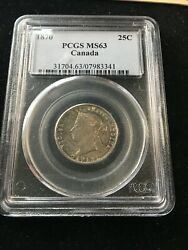 1870 Obv1 Coin Pcgs Graded Canadian, ¢25 Cent, Ms-63
