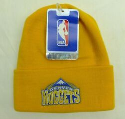 Denver Nuggets Nba Knit Beanie Winter Hat Yellow Cuffed One Size New Adidas