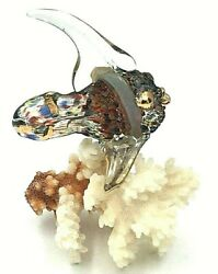 Vintage Murano Glass Fish Figurine On Real White Coral Branch