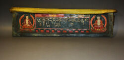 Rare 19th Century Old Antique Tibet Buddhism Painted Thangka Wooden Sutra Cover