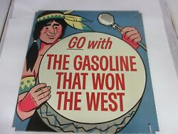 Vintage Advertising Phillips 66 The Gas That Won The West Tin Sign Rare  M-580