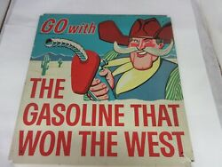 Vintage Advertising Phillips 66 The Gas That Won The West Tin Sign Rare  M-575