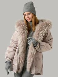 Transformer Parka With Raccoon Fur Removable Inner Part Drawstring 79 Cm