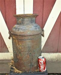 Antique New England Country Cow Farm Dairy Sealtest Food Sign Iron Milk Can Jar