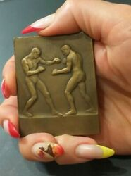 1920s French Boxing Medal Bronze By Mery 60mm-45mm /naked Muscular