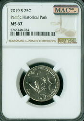 2019-s Pacific Historical Park Ngc Ms67 750000 Minted Rare Mac Spotless