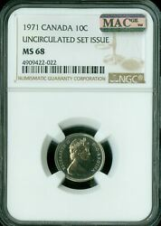 1971 Canada 10 Cents Ngc Mac Ms68 Pq 2nd Finest Registry Spotless