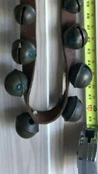 Antique 1800s Brass Sleigh Bells On Leather 23 Bells, Size 2 To 1 Exc. Sound