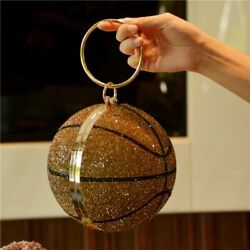 Bee In Basketball Round Gold Clutch Purses for Women Evening Rhinestone Ladies $98.88