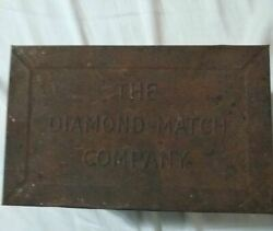 Vintage Diamond Match Company Hinged Tin Box With Faded Decal Chip Matches Dents