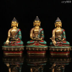 A Set Collection Tibet Antique Pure Copper Inlaid With Gems Three Holy Buddhas