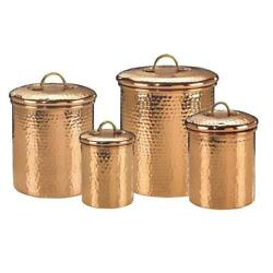 Decor Copper Hammered Kitchen Canister 4-piece Set, 1 To 4 Qt Cans W/ Handle Lid