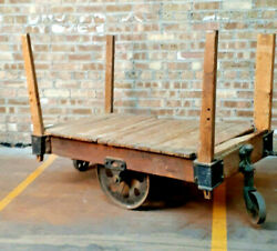 Antique Lineberry Wilkesboro Nc Cart Industrial Railroad Baggage Usa Furniture