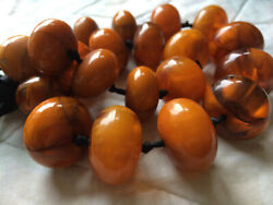 Exceptional Old Antique African Amber Phenolic Resin Beads Necklace,