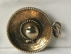 Heavy Vintage 14k Gold Detailed Mexican Sombrero Hat Etched Charm Pendant 5.4gr