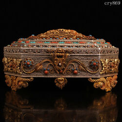 Collection Tibet Old Antique Tibetan Silver Inlaid With Gems Gilding Jewelry Box