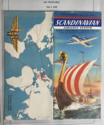 Sas Scandinavian Airlines System Time Table Information Brochure Services 1949