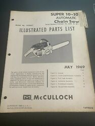 Mcculloch Illustrated Parts List Super 10-10 Automatic Chainsaw July.1969 H4