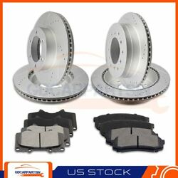 Front + Rear Brake Rotors And Ceramic Pads Drilled Slot For 01-07 Toyota Sequoia