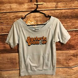 Hysteric Glamour Womens Logo Pullover Top Boat Neck Blue Sweater Size Free New