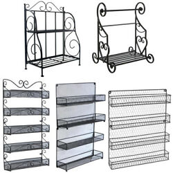2/4/5 Tier Spice Rack Organizer Wall Mounted Country Rustic Chicken Herb Holder