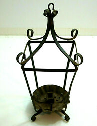 Antique Victorian Wrought Iron 16 Tall Hanging Candle Holder Cage