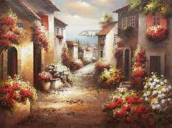 Tuscan Street 36x48 100 36x48 Hand Painted Oil Painting On Canvas
