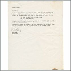 Morrissey Autographed Letter To Sounds Magazine Writer Dave Mccullough Uk