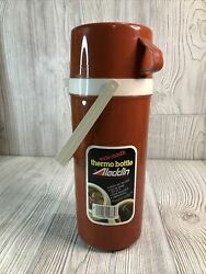New Old Stock Red Aladdin 1-quart Wide Mouth Thermo Bottle Thermos No 865 Usa