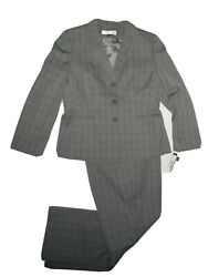 Tahari Wms Black And White Plaid Career Pants And Jacket Suit Size 16 Retail 280