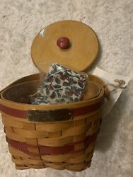 Longaberger 1994 Jingle Bell Basket Set With Lid - Red - Traditional Holly