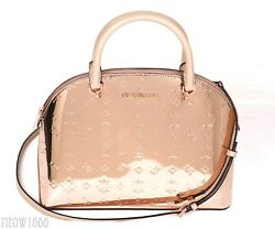 Michael Kors EMMY Mirror Finish Rose Gold Dome Satchel Purse Crossbody Messenger $99.95