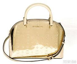 Michael Kors EMMY Mirror Finish Pale Gold Dome Satchel Purse Crossbody Messenger $99.95