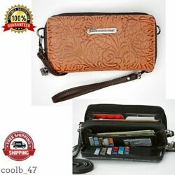 Stone Mountain Cognac Embossed Leather Crossbody Wallets For Cards Cash Or Phone $38.52