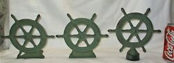 Antique Spencer Guilford Ct Cast Iron Sea Ship Wheel Bookends And X Rare Doorstop