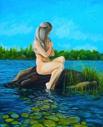 Mermaid For The Day Original Impressionist Figurative Nude Oil Painting Wall Art