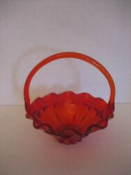 Vintage Orange Carnival Glass Basket Candy Dish 8in.w. X 10in.t. Pre-owned