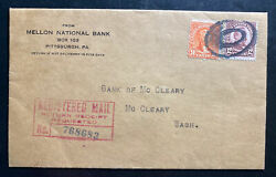 1934 Pittsburgh Pa Usa Mellon National Bank Registered Cover To Mc Cleary Wa