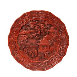 Chinese Red Resin Lacquer Round Scenery Relief Carving Accent Plate Ws974