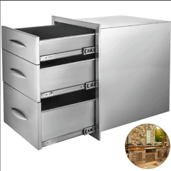 Outdoor Kitchen Drawer Stainless Steel Triple Access Bbq Drawers