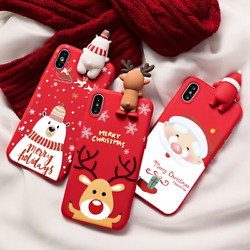 Christmas Cartoon Deer Case For Iphone 11 12 Pro Xs Max Xr X Se 2 2020 Silicone
