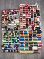 Lot Of 200 Vintage Wood Wooden Thread Spools Sewing Silk Cotton + Needles And More