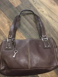 Fossil Leather Double Strap Brown Shoulder Bag $17.00